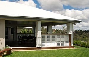 view of a patio with aluminium shutters