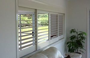 Timber shutters in a living room