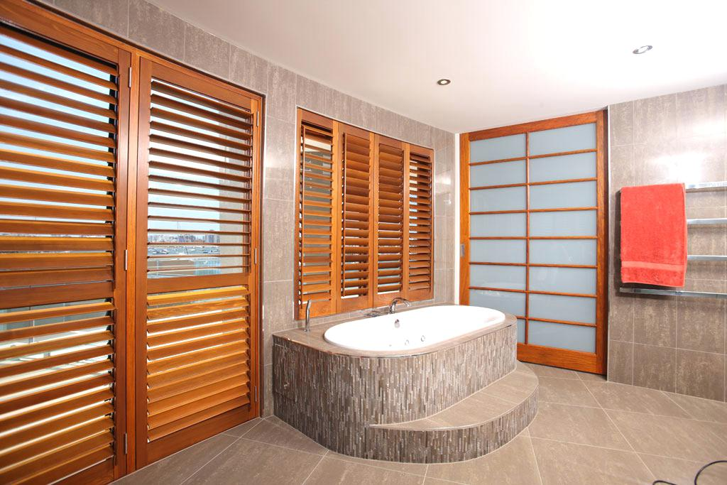 cedar shutters in a bathroom