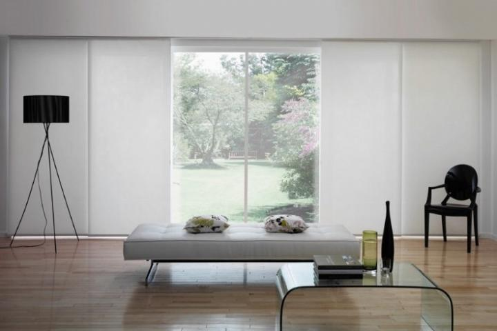 modern panel glide blinds in a living area