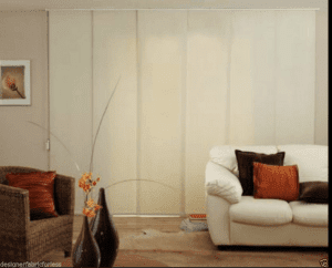 panel glide blinds in a living room