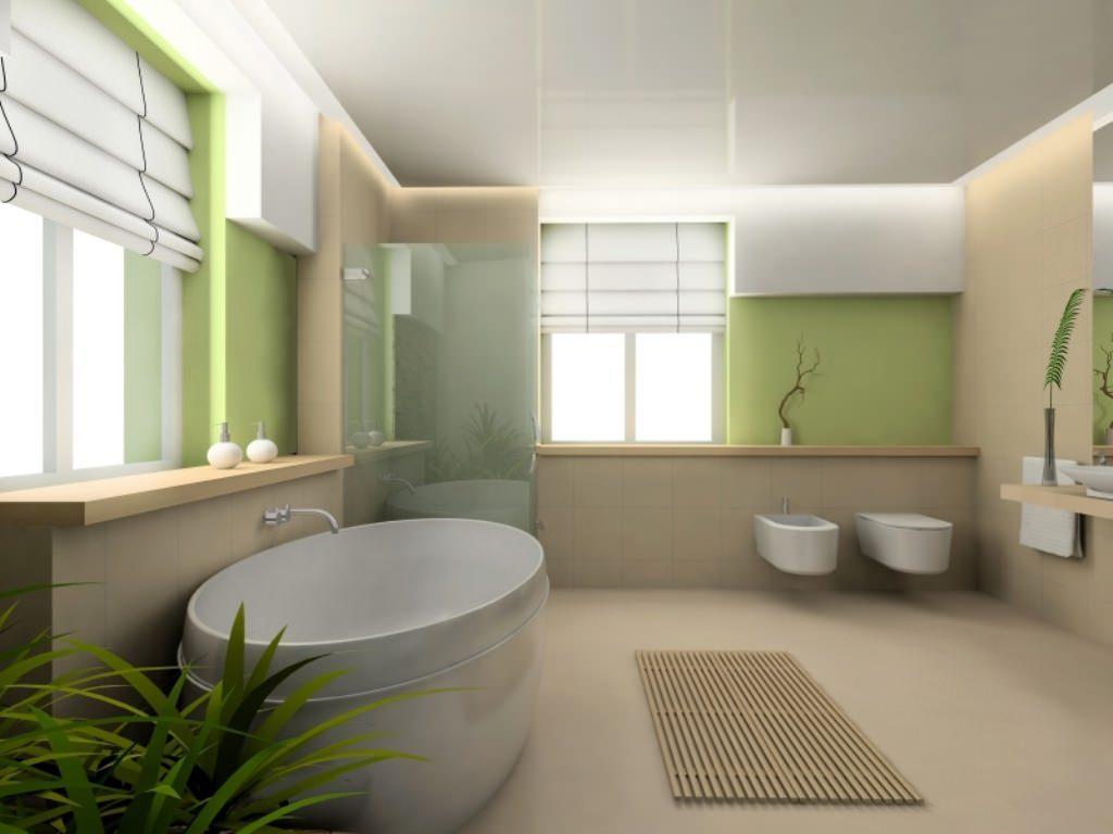 white roman blinds in a modern bathroom