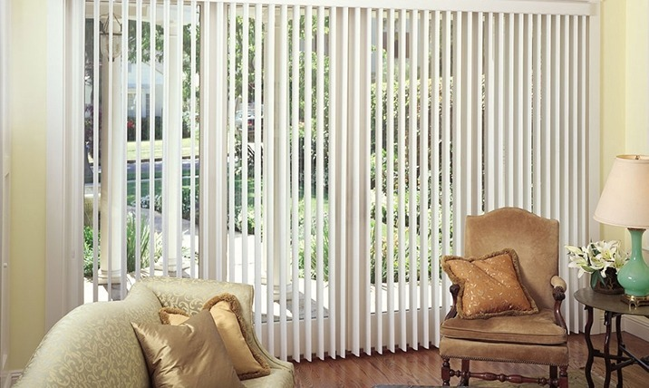 vertical blinds in a living room